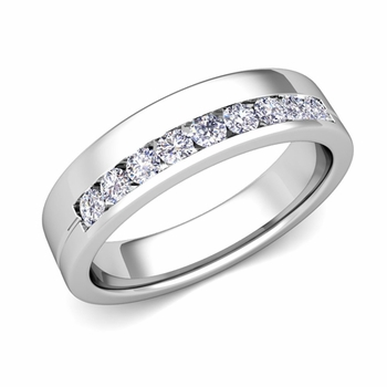 Channel Set Mens Comfort Fit Diamond Wedding Band in 14k Gold, 5mm