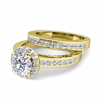 Halo Bridal Set: Channel Set Diamond Engagement Wedding Ring in 18k Gold