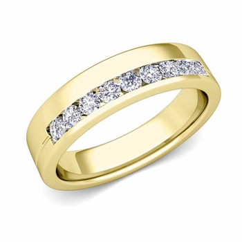 Channel Set Mens Comfort Fit Diamond Wedding Band in 18k Gold, 5mm