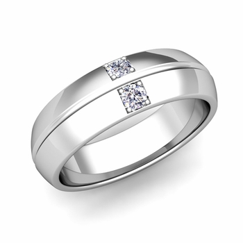 Mens Comfort Fit Diamond Wedding Band Ring in 14k Gold, 6mm