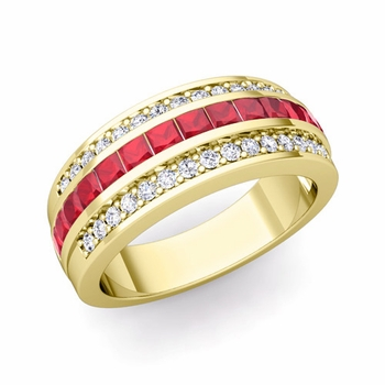 Princess Cut Ruby and Pave Diamond Wedding Ring in 18k Gold, 7mm