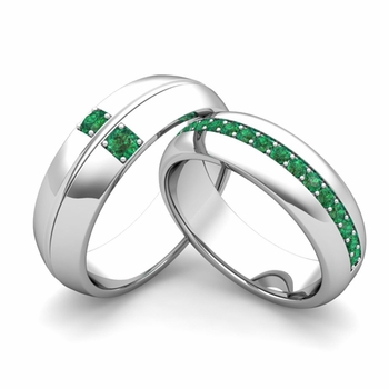 Matching Wedding Ring: Emerald Comfort Fit Wedding Band Set in 14k Gold