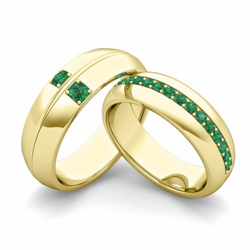 Matching Wedding Ring: Emerald Comfort Fit Wedding Band Set in 18k Gold
