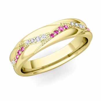 Wave Wedding Band in 18k Gold Diamond and Pink Sapphire Ring, 5mm