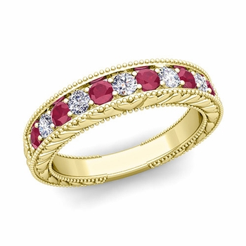 Vintage Inspired Diamond and Ruby Wedding Ring Band in 18k Gold