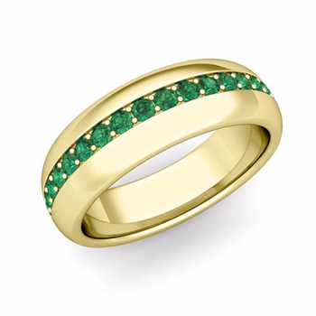 Pave Set Comfort Fit Emerald Wedding Band Ring in 18k Gold, 5.5mm