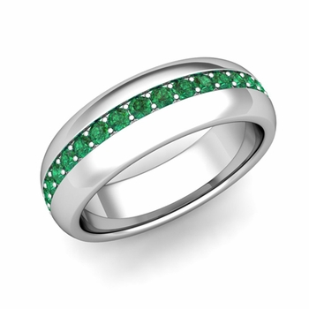Pave Set Comfort Fit Emerald Wedding Band Ring in Platinum, 5.5mm