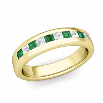 Channel Set Princess Cut Diamond and Emerald Wedding Ring in 18k Gold, 4.5mm