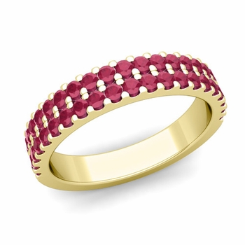 Two Row Diamond and Ruby Wedding Ring Band in 18k Gold