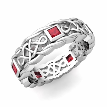 Princess Cut Ruby Ring in Platinum Celtic Knot Wedding Band, 5mm