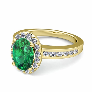 Diamond and Emerald Halo Engagement Ring in 18k Gold Channel Set Ring, 7x5mm