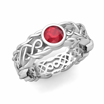 Solitaire Ruby Ring in Platinum Celtic Knot Wedding Band, 6.5mm