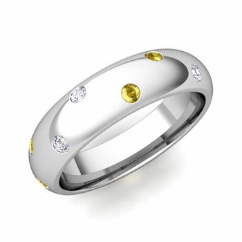 Scattered Yellow Sapphire and Diamond Wedding Eternity Band in Platinum, 5mm