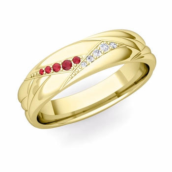 Wave Mens Wedding Band in 18k Gold Diamond and Ruby Ring, 5.5mm