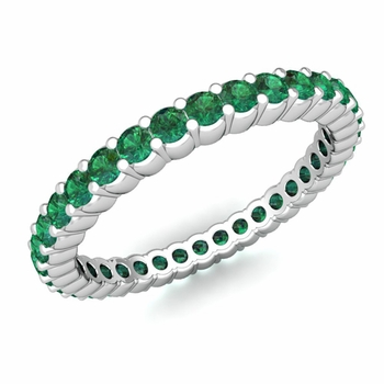 Petite Pave Emerald Eternity Band Ring in Platinum