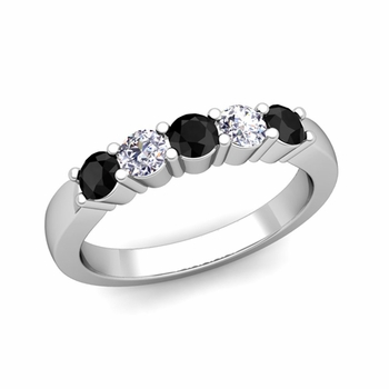 5 Stone Black and White Diamond Wedding Ring in 14k Gold