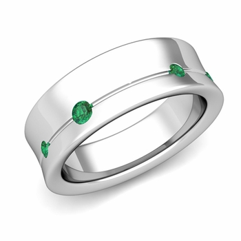 Flush Set Emerald Wedding Band Ring in 14k Gold, 5mm