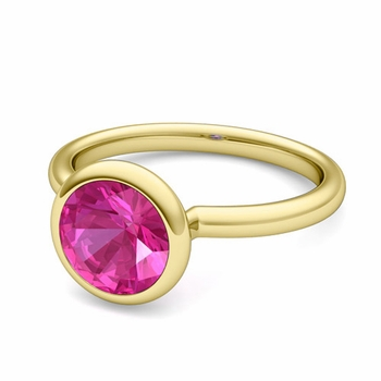 Bezel Set Solitaire Pink Sapphire Ring in 18k Gold, 7mm