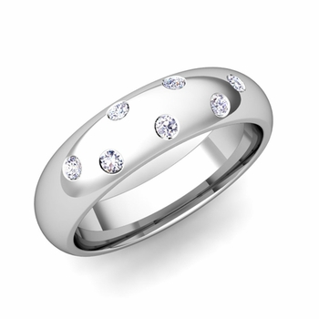 Comfort Fit Scattered Diamond Wedding Band in Platinum, 5mm
