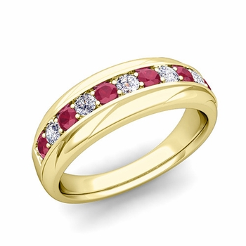 Brilliant Diamond and Ruby Wedding Ring Band in 18k Gold, 6mm