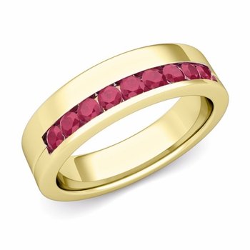 Channel Set Comfort Fit Ruby Wedding Ring in 18k Gold, 4mm