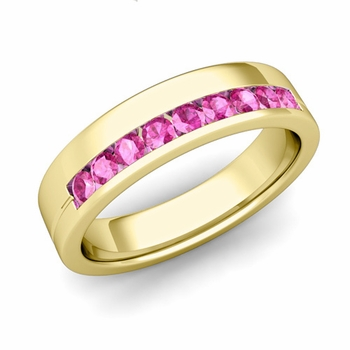 Channel Set Mens Comfort Fit Pink Sapphire Wedding Band in 18k Gold, 5mm