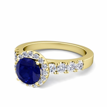 Brilliant Pave Set Diamond and Sapphire Halo Engagement Ring in 18k Gold, 7mm