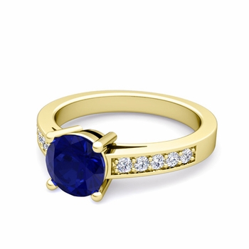 Pave Diamond and Solitaire Sapphire Engagement Ring in 18k Gold, 6mm