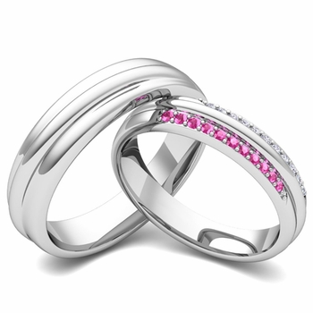 Matching Wedding Band in Platinum Pave Diamond and Pink Sapphire Ring