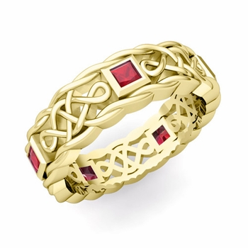 Princess Cut Ruby Ring in 18k Gold Celtic Knot Wedding Band, 5mm