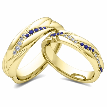 Matching Wave Wedding Band in 18k Gold Sapphire and Diamond Ring