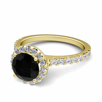 Petite Pave Set Black and White Diamond Halo Engagement Ring in 18k Gold, 7mm