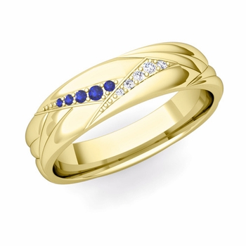 Wave Mens Wedding Band in 18k Gold Diamond and Sapphire Ring, 5.5mm