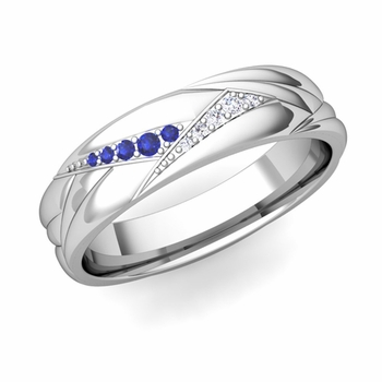 Wave Mens Wedding Band in Platinum Diamond and Sapphire Ring, 5.5mm