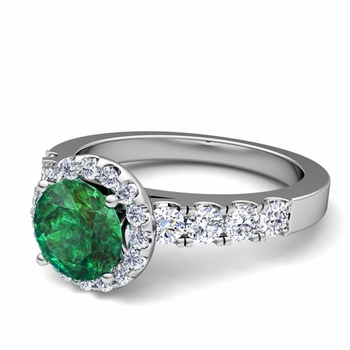 Brilliant Pave Set Diamond and Emerald Halo Engagement Ring in Platinum, 7mm