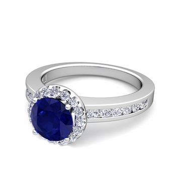 Diamond and Sapphire Halo Engagement Ring in Platinum Channel Set Ring, 7mm