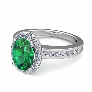 Diamond and Emerald Halo Engagement Ring in Platinum Channel Set Ring, 7x5mm