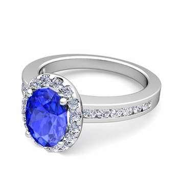 Diamond and Ceylon Sapphire Halo Engagement Ring in Platinum Channel Set Ring, 7x5mm