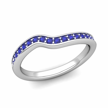 Petite Curved Blue Sapphire Wedding Band Ring in 14k Gold