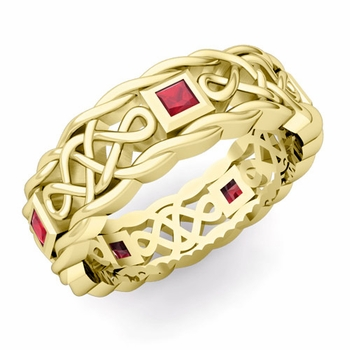 Princess Cut Ruby Ring in 18k Gold Celtic Knot Wedding Band, 7mm