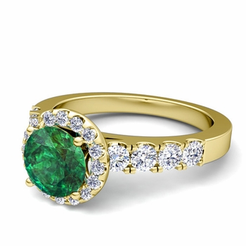 Brilliant Pave Set Diamond and Emerald Halo Engagement Ring in 18k Gold, 7mm