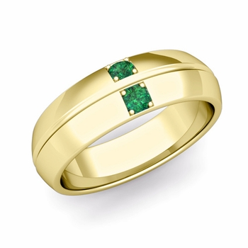Mens Comfort Fit Emerald Wedding Band Ring in 18k Gold, 6mm