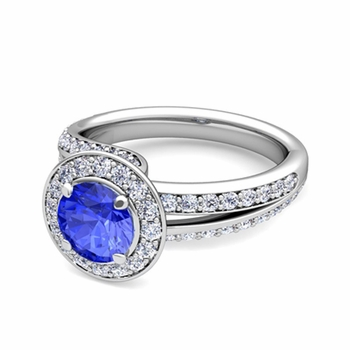 Wave Diamond and Ceylon Sapphire Halo Engagement Ring in Platinum, 7mm