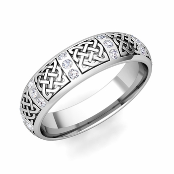 Diamond Wedding Ring in Platinum Celtic Knot Wedding Band, 6mm