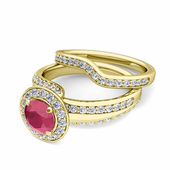 Wave Diamond and Ruby Engagement Ring Bridal Set in 18k Gold, 6mm