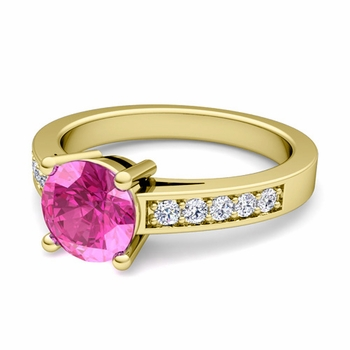 Pave Diamond and Solitaire Pink Sapphire Engagement Ring in 18k Gold, 6mm