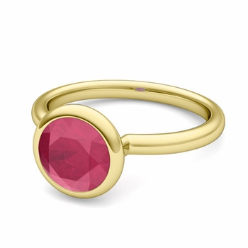 Bezel Set Solitaire Ruby Ring in 18k Gold, 6mm