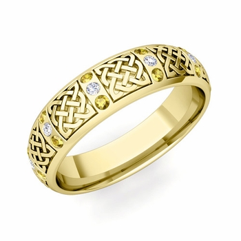 Yellow Sapphire Diamond Wedding Ring in 18k Gold Celtic Wedding Band, 6mm