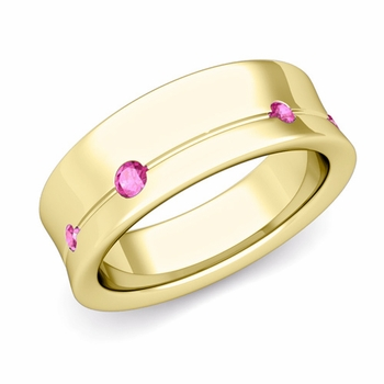 Flush Set Pink Sapphire Wedding Band Ring in 18k Gold, 5mm