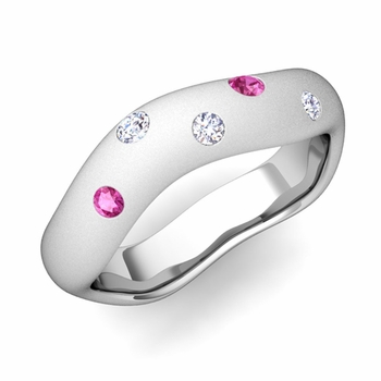 Curved Diamond and Pink Sapphire Wedding Ring in Platinum, Satin Finish, 5mm